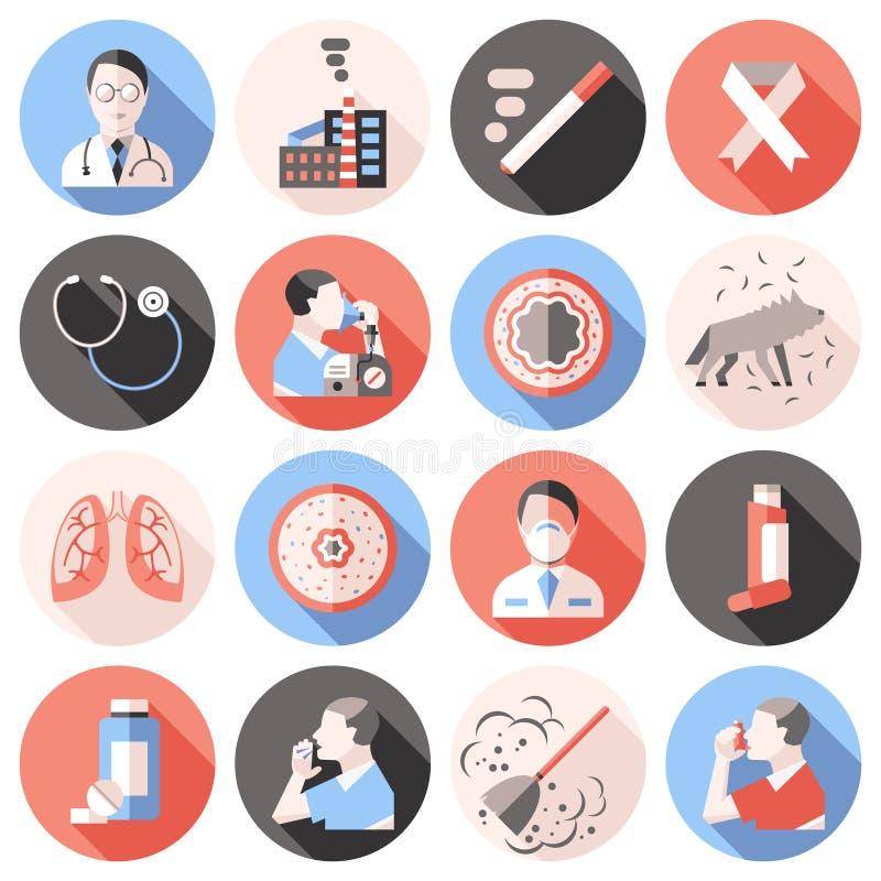 Asthma Icons Flat Set stock illustration