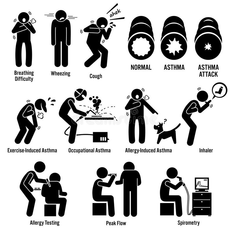 Asthma Illness Clipart. Illustrations showing asthma patient having asthma attack. His airway is tighten and he cannot breath. Asthma can be due to exercise stock illustration