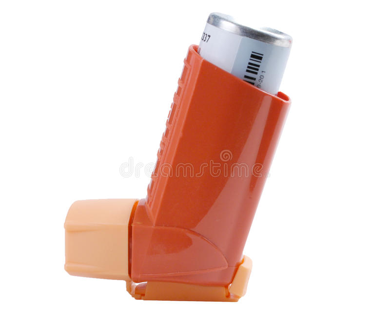 Asthma inhaler isolated on white royalty free stock images
