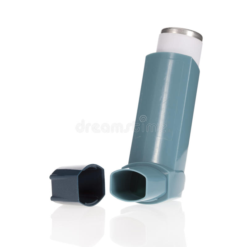 Asthma inhaler isolated on white stock image