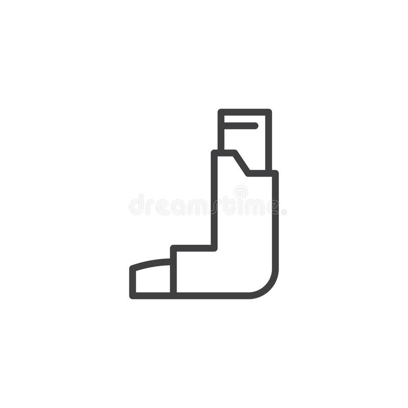 Asthma inhaler line icon. Linear style sign for mobile concept and web design. Inhalator outline vector icon. Symbol, logo illustration. Pixel perfect vector royalty free illustration