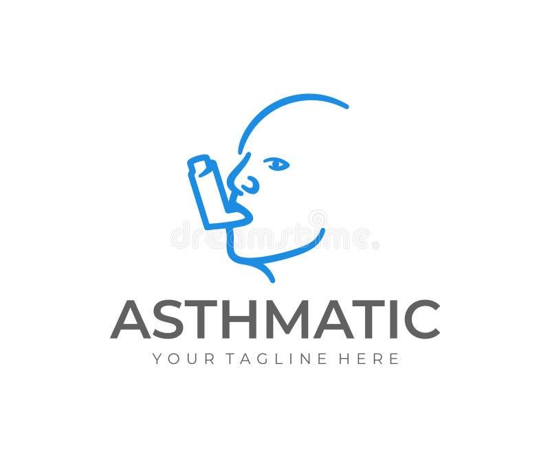 Asthma inhaler logo design. Man head with asthma spray vector design. Lung disease treatment logotype royalty free illustration