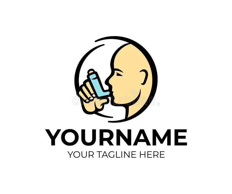 Asthma inhaler, man holds an asthma inhaler, logo design. Man head with asthma spray and lung disease treatment, vector design. And illustration vector illustration
