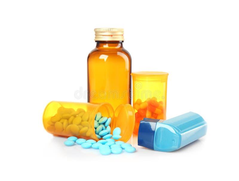 Asthma inhaler and medicines royalty free stock photos