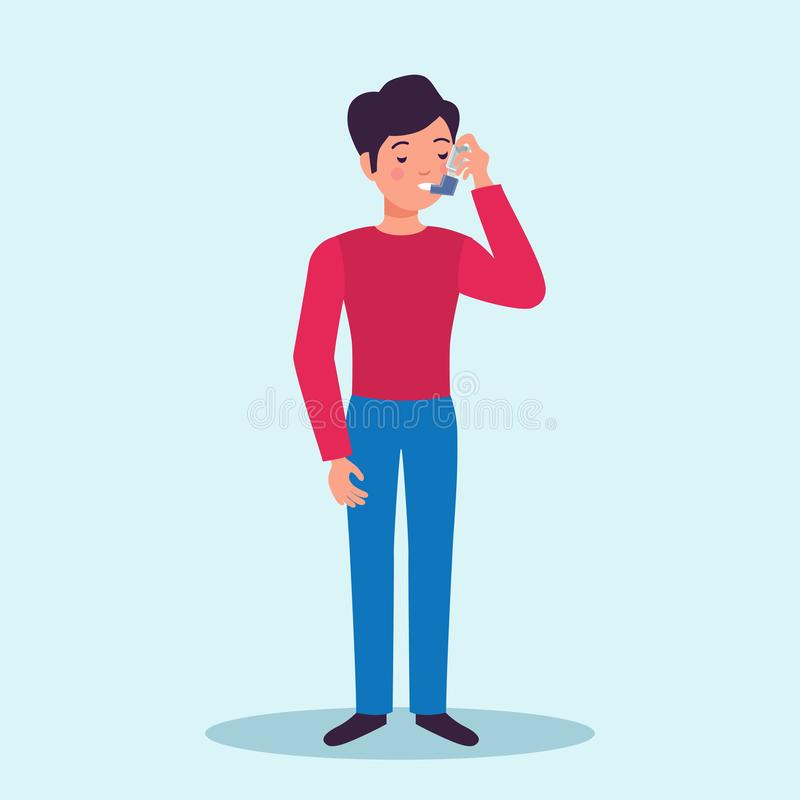 Asthma Patient Flat Character stock illustration