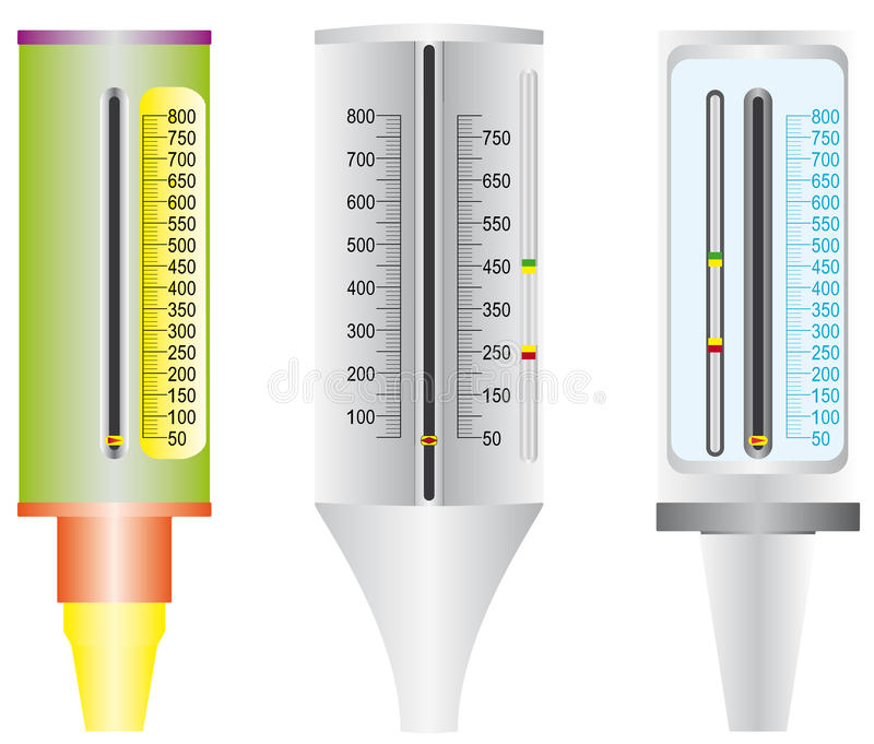 Asthma. Peak flow meter. Peak flow meter used by Asthma patients. Abstract medical set isolated over white background stock illustration