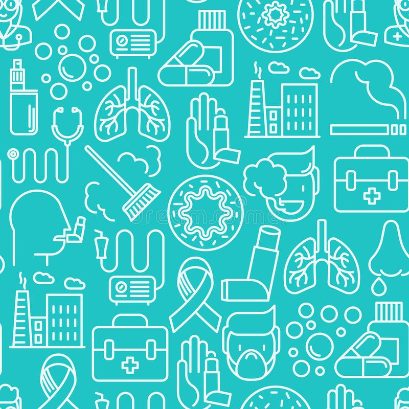 Asthma seamless pattern with thin line icons. Air pollution, smoking, respirator, therapist, inhaler, bronchi, allergy symptoms and allergens. Vector royalty free illustration