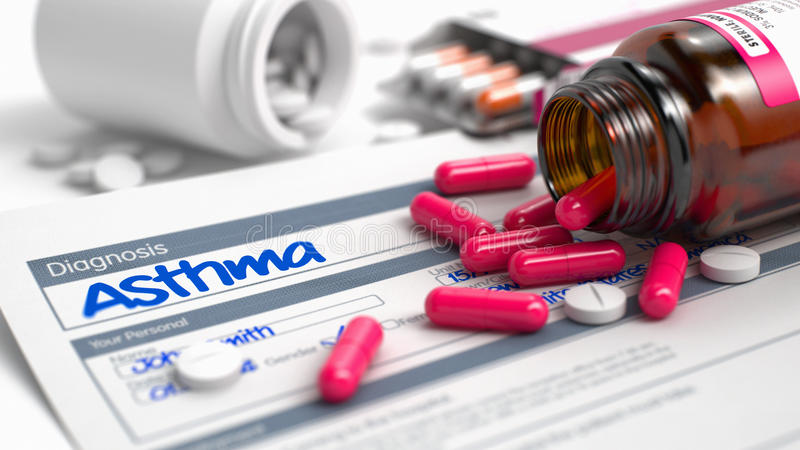 Asthma - Text im Krankheits-Auszug Abbildung 3D stock abbildung