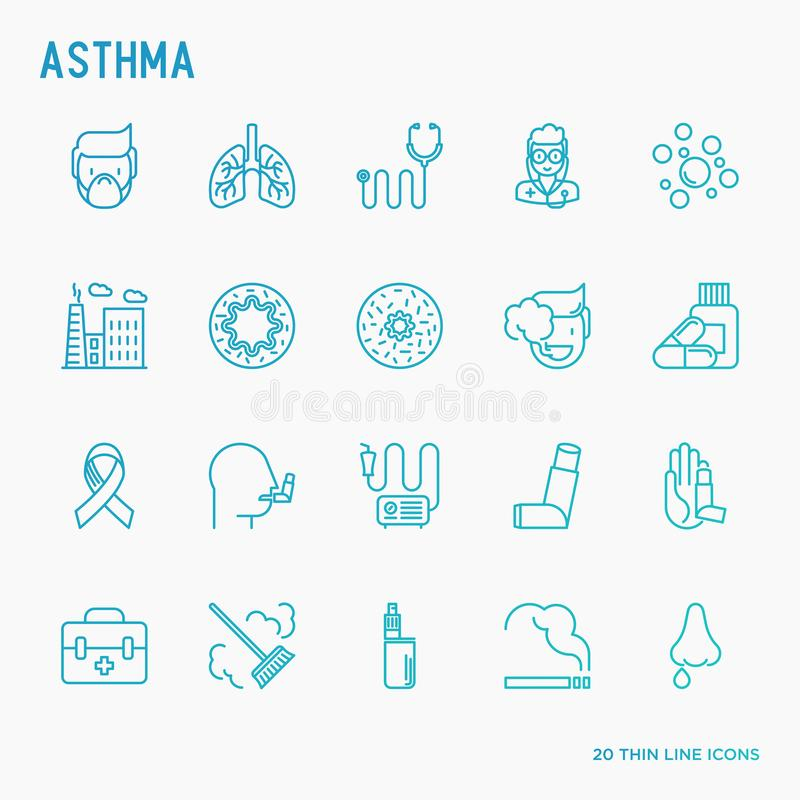 Asthma thin line icons set. Air pollution, smoking, respirator, therapist, inhaler, bronchi, allergy symptoms and allergens. Vector illustration royalty free illustration