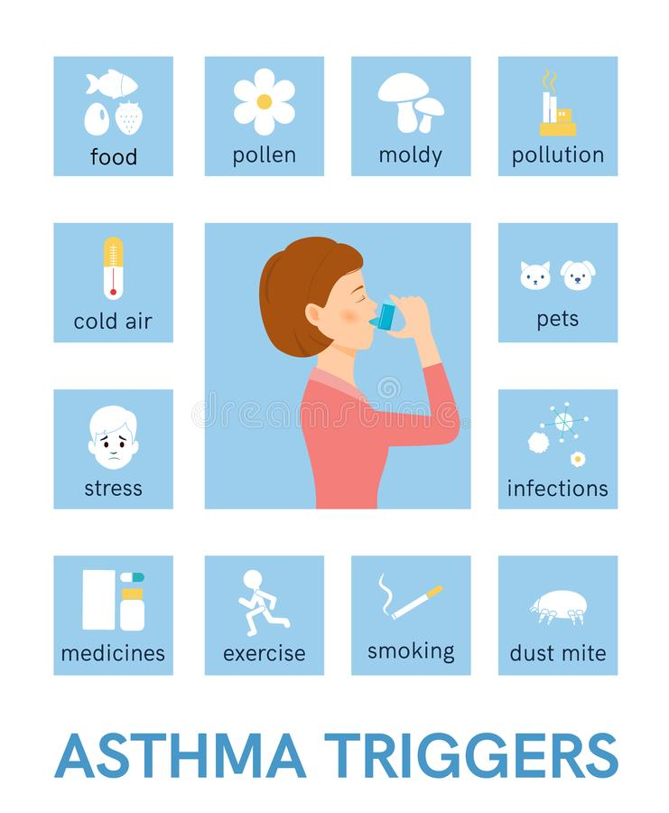 Asthma triggers. Flat icons. Vector vector illustration