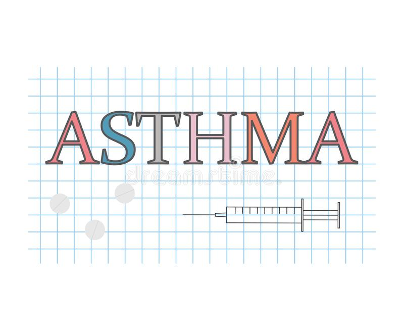 Asthma word on checkered paper sheet stock illustration
