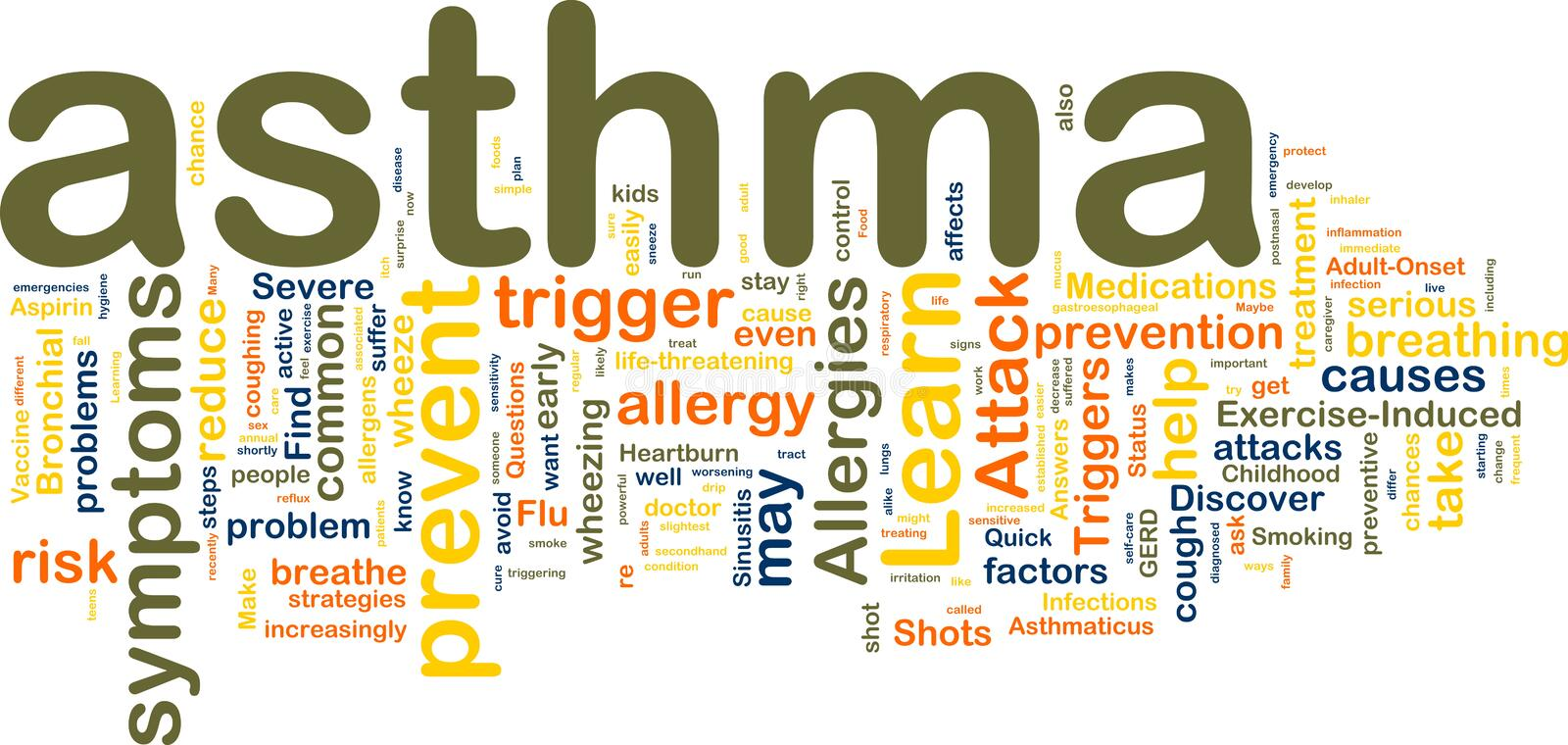 Asthma wordcloud royalty free illustration