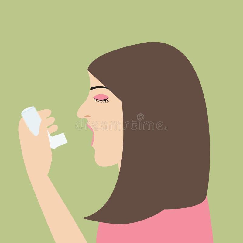 Asthme de femme tenant la santé médicale de souffle plat de bande dessinée de vecteur d'inhalateur illustration libre de droits