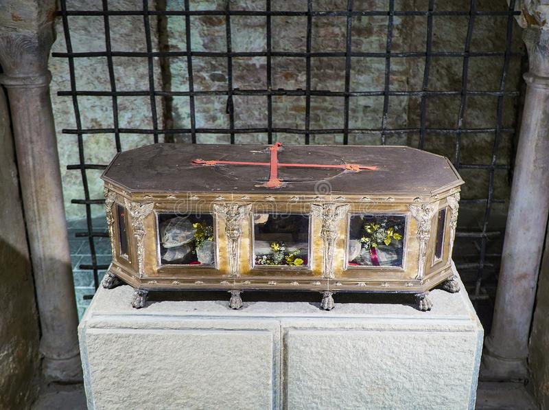 A reliquary containing the bones of San Secondo. Saint Secondo Catholic Church Collegiate. Asti, Piedmont, Italy stock image