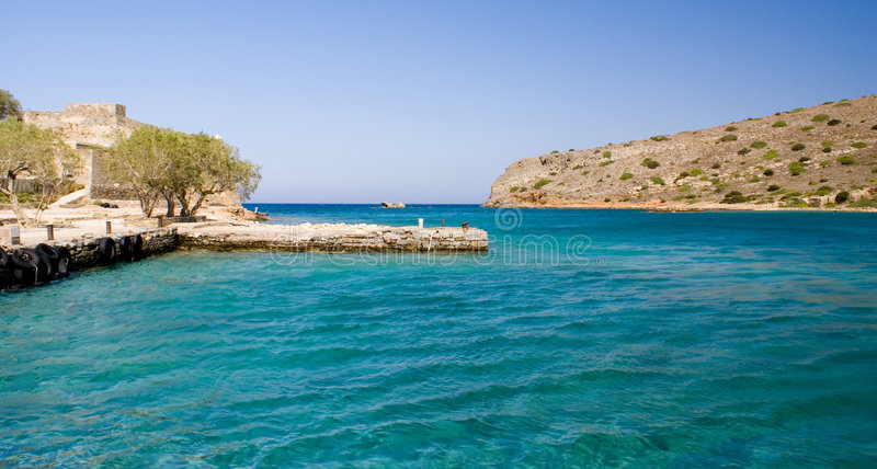 Astillero en Spinilonga, Crete imagen de archivo