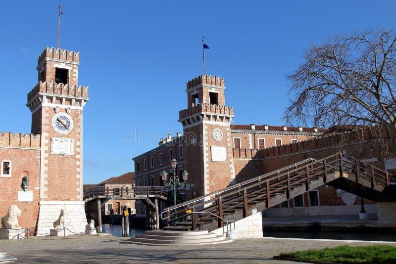 Astillero viejo del arsenal veneciano en Venecia, Italia imagen de archivo libre de regalías