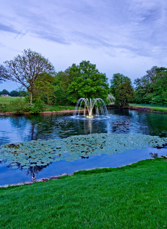 Download Astley Hall Fountain In Evening Ligh Stock Image - Image: 40867301