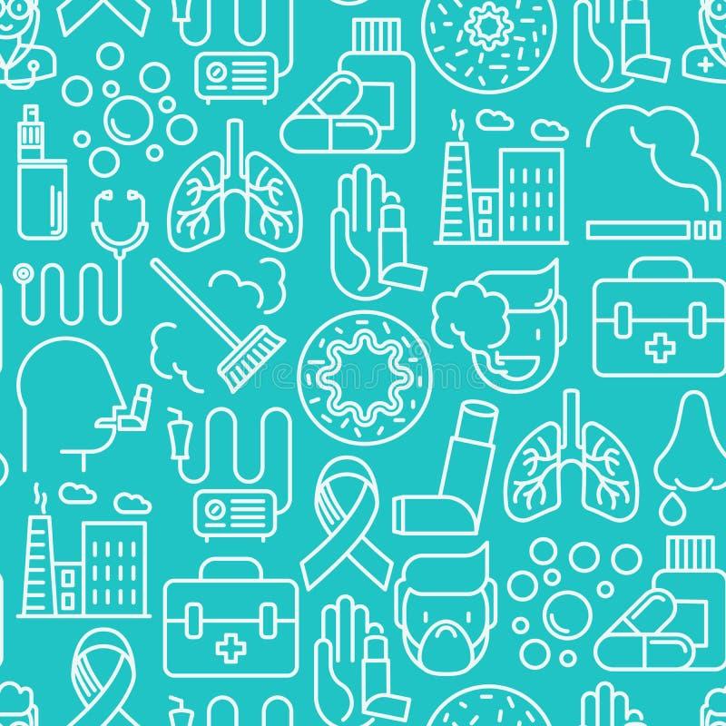 Astma bezszwowy wzór z cienkimi kreskowymi ikonami royalty ilustracja