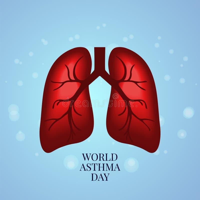 Astmamedvetenhetaffisch royaltyfri illustrationer