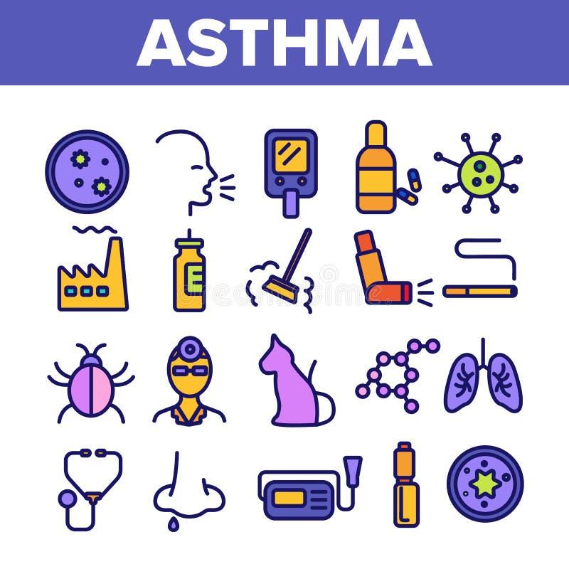 Astmy choroby wektoru Cienkie Kreskowe ikony Ustawia? ilustracja wektor