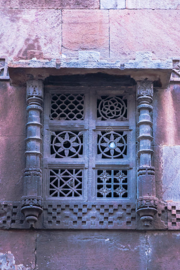 Astodia Mosque, Ahmadabad. Stone carving of window in Astodia Mosque, Ahmadabad, India stock photography