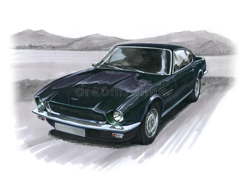 Aston Martin AMV8 illustration stock