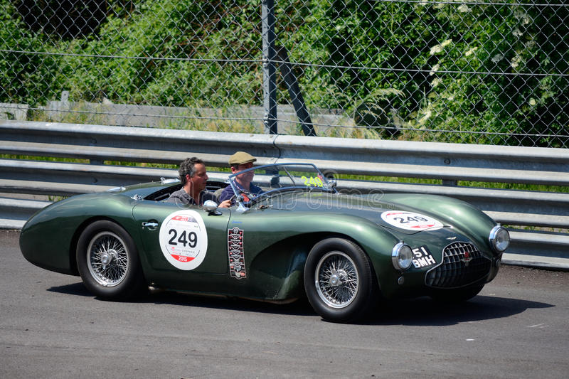 Aston Martin DB3S 1952 at the Mille Miglia. Classic Racing Car takes part in the Monza Circuit Stage for the 2015 Mille Miglia. In total 10 DB3s were made stock images