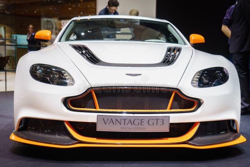 Aston Martin Korzystny GT3, Motorowy przedstawienie Geneve 2015 zdjęcie stock