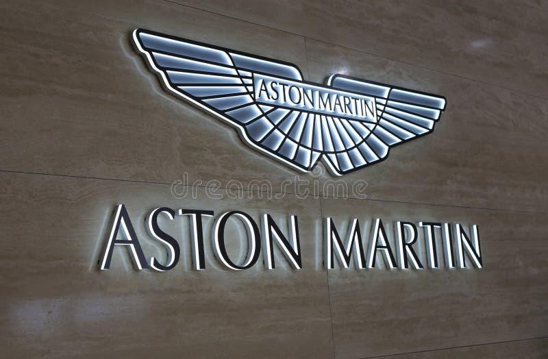 Aston Martin Logo Wall in Geneva International Motor Show GIMS 2019. Aston Martin logo wall with backlights in Geneva International Motor Show GIMS, Geneva stock photography