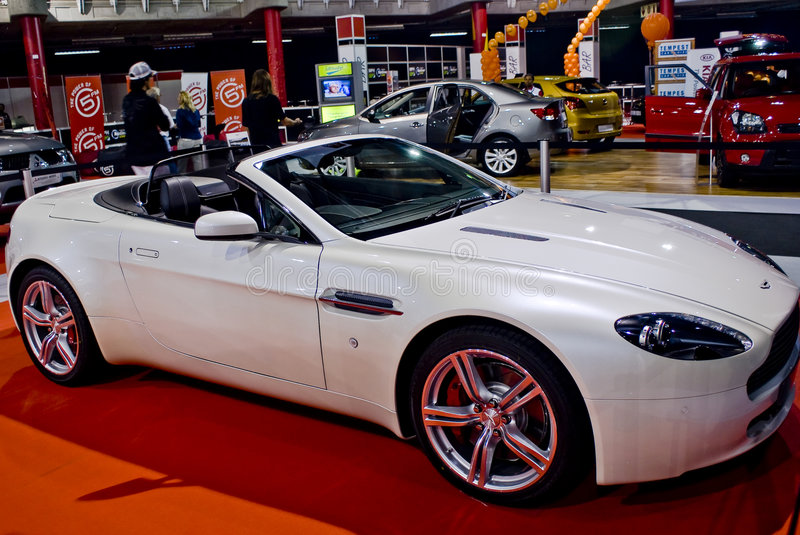 Aston Martin Vantage Roadster. An Aston Martin Vantage Roadster V8 on a display in a car show royalty free stock image