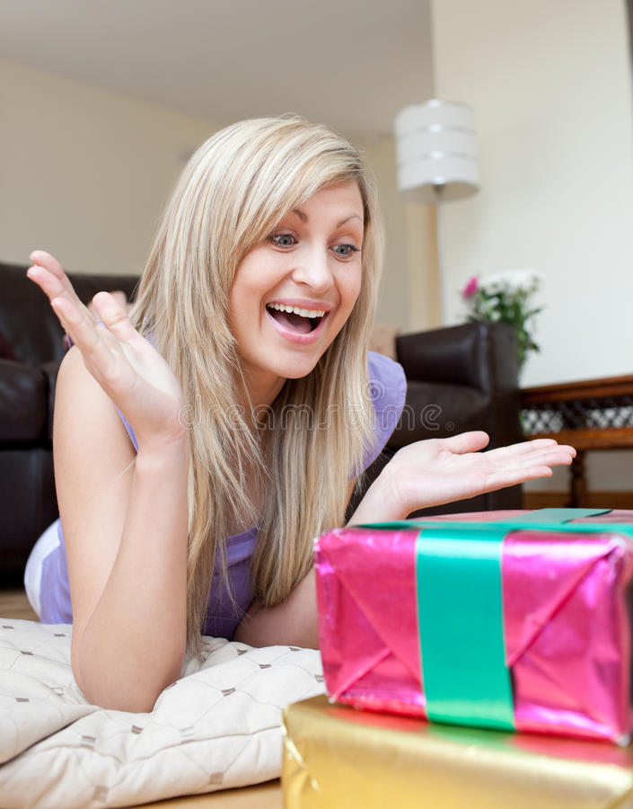 Download Astonished Woman Looking At A Present Stock Image - Image: 14466607