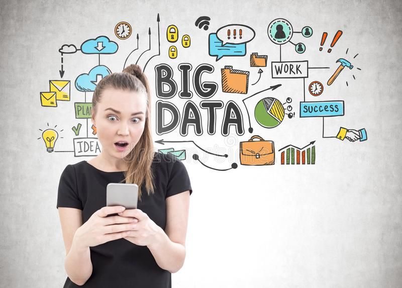 Astonished young woman, smartphone, big data royalty free stock images