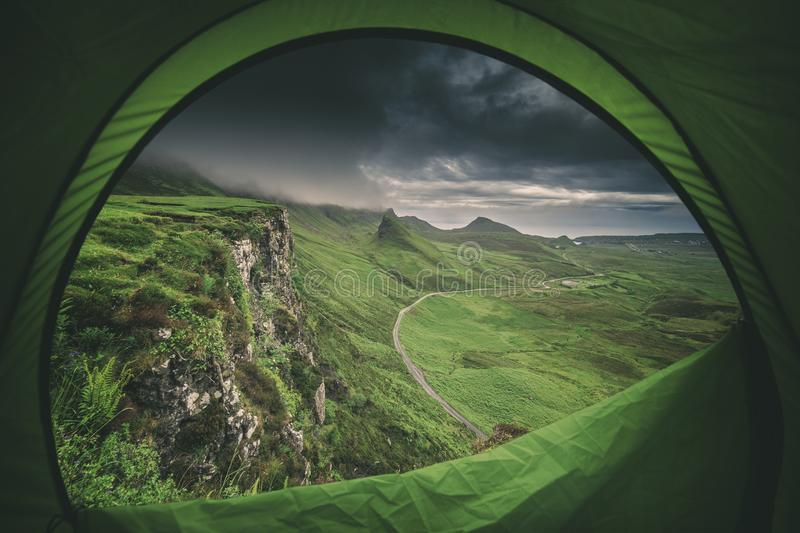 Camping in Scotland at Quiraing Hill stock photography