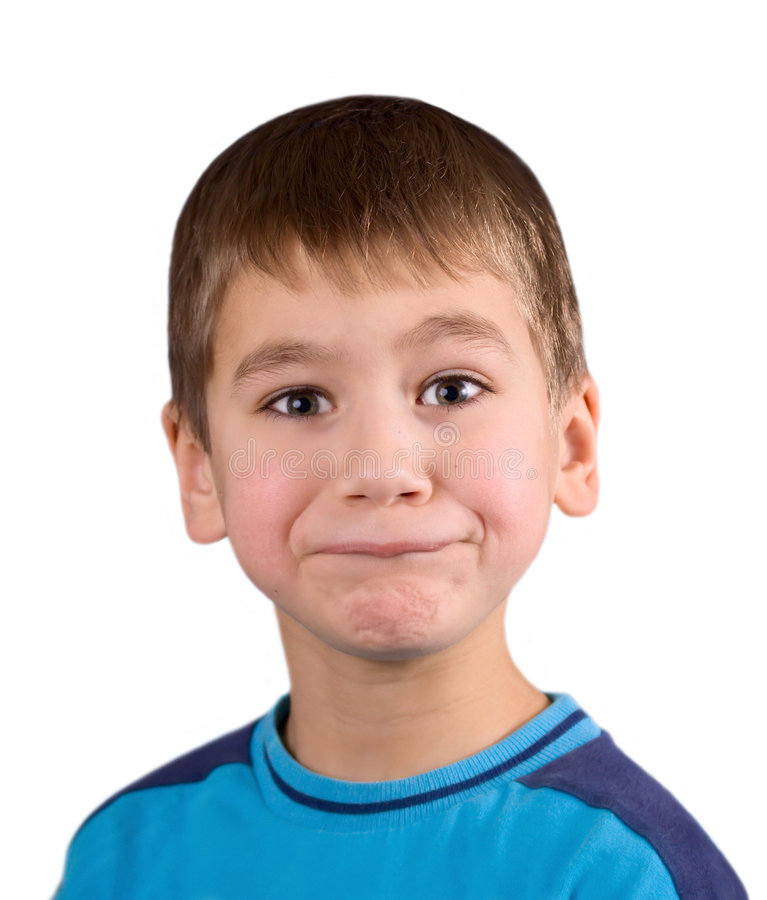 The astonishment and angry boy stock photo