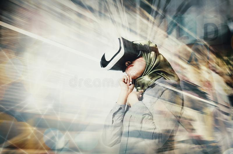 astonishment expression young women wearing virtual reality goggles over double exposure background royalty free stock image