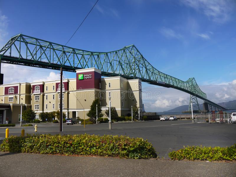 Astoria Bridge Holiday Inn, Oregon United States. Holiday Inn Express - hotel building and Astoria Bridge. Oregon, United States stock photo