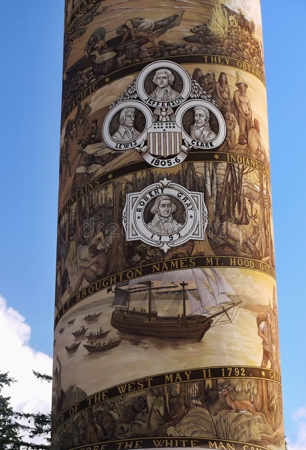 Astoria Column Oregon United States. Astoria Column - Detail of the column mural- a tower on Coxcomb Hill in Astoria. Oregon United States royalty free stock photo