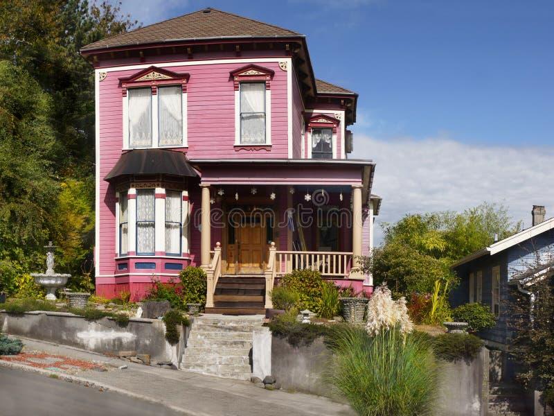 Astoria Homes, Oregon United States. Beautiful home in Astoria downtown, street view. Oregon, United States royalty free stock photo