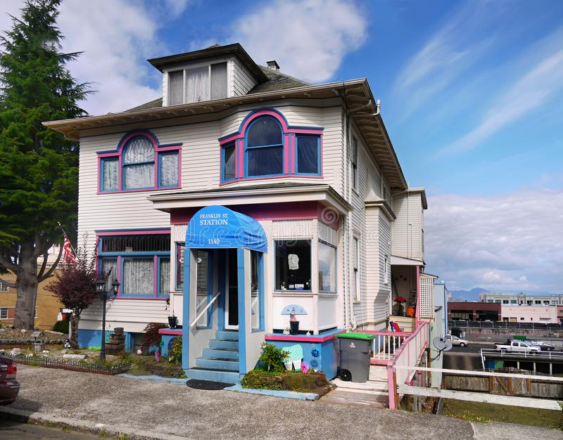 Astoria Homes, Oregon United States. Beautiful home in Astoria downtown, street view. Oregon, United States royalty free stock images