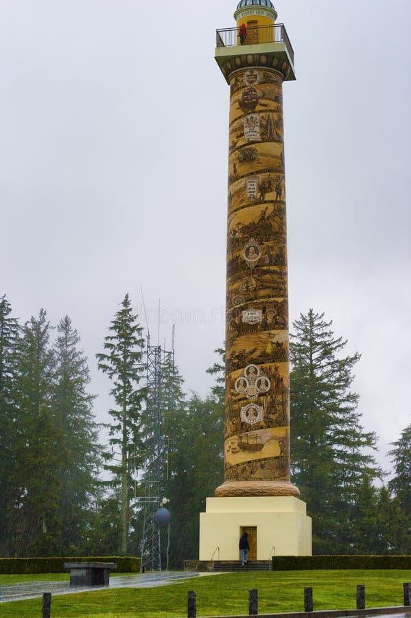 Astoria kolumna na mokrym wietrznym dniu obraz stock