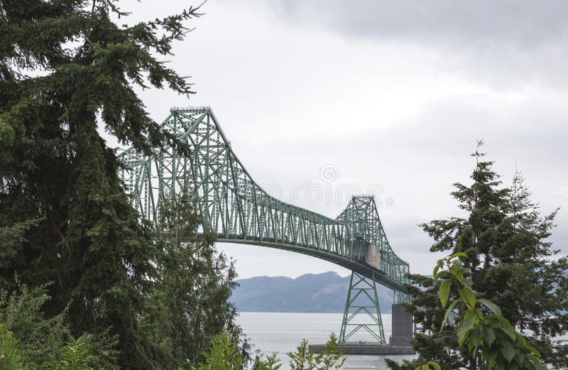 Astoria-Megler Bridge in Oregon. Very large bridge over the ocean in Astoria, Oregon royalty free stock photography