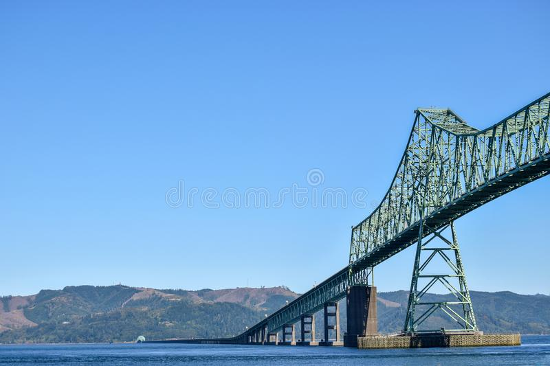 The Astoria-Megler Bridge between Washington State and Oregon in the United States. The Astoria-Megler Bridge, a steel cantilever through truss bridge in the royalty free stock photos