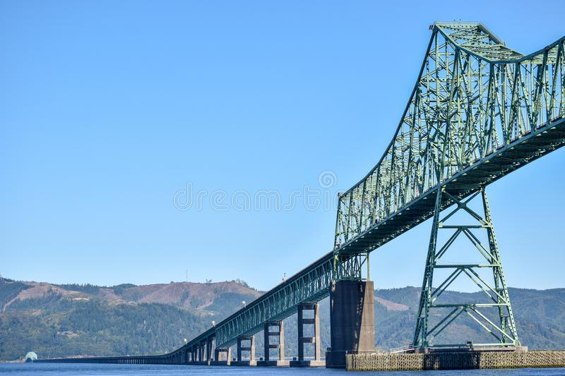 The Astoria-Megler Bridge between Washington State and Oregon in the United States. The Astoria-Megler Bridge, a steel cantilever through truss bridge in the stock images