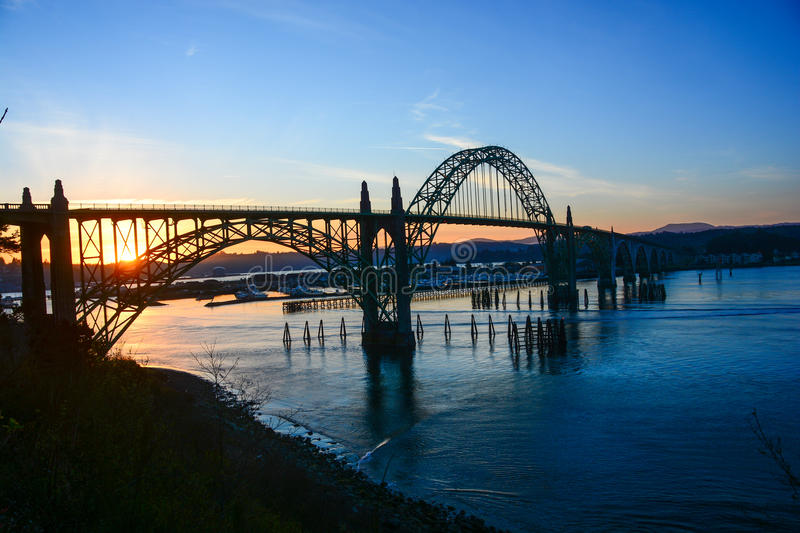Astoria-Megler Bridge Sunset across Columbia River. Columbia River crossing at Astoria, OR stock photography