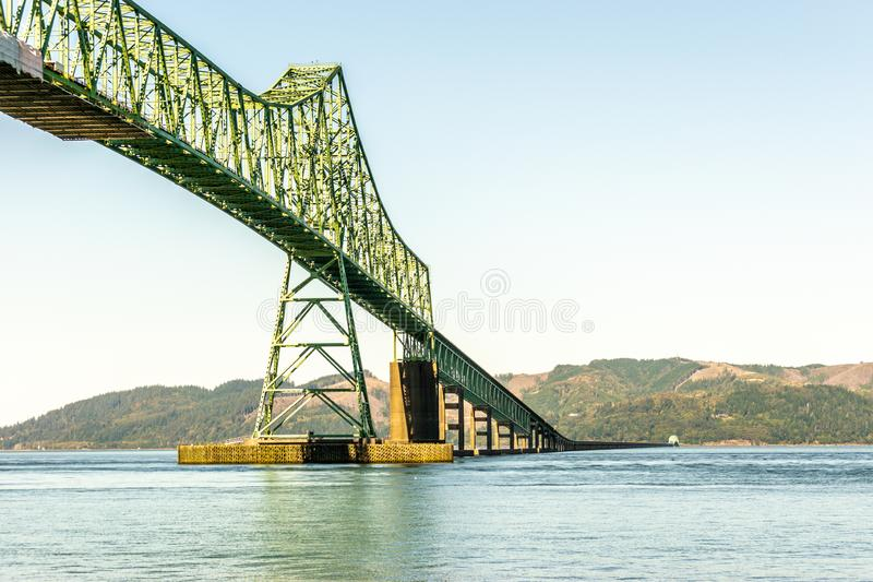 The Astoria-Megler Bridge between Washington State and Oregon in the United States. The Astoria-Megler Bridge, a steel cantilever through truss bridge in the stock photo