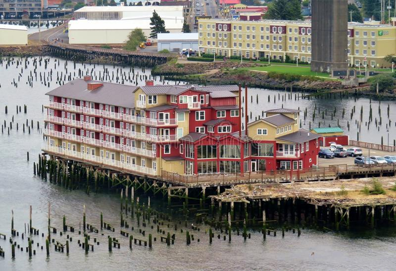Astoria, Oregon, 9/16/2018, The Cannery Pier Hotel & Spa. Sits right on the water front stock image