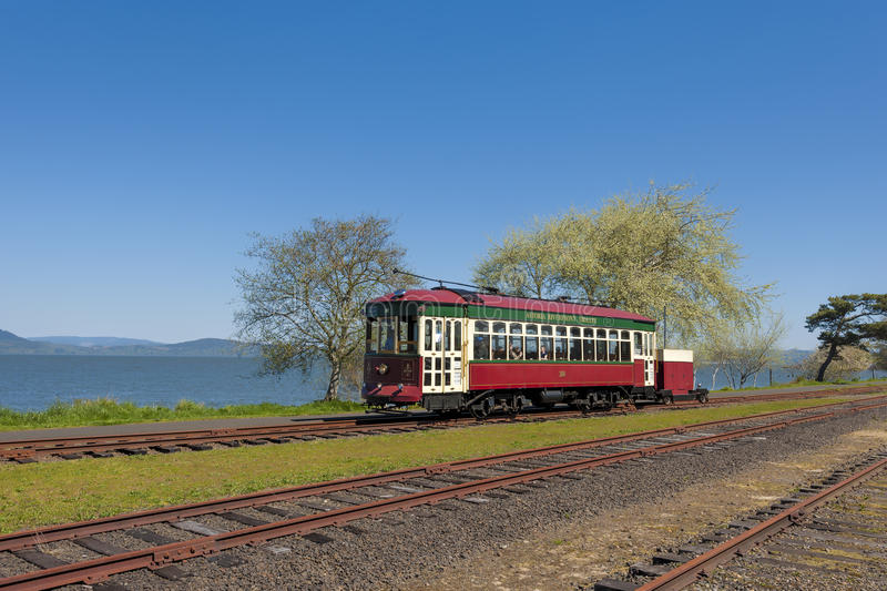 Astoria`s Waterfront Trolly Car stock images