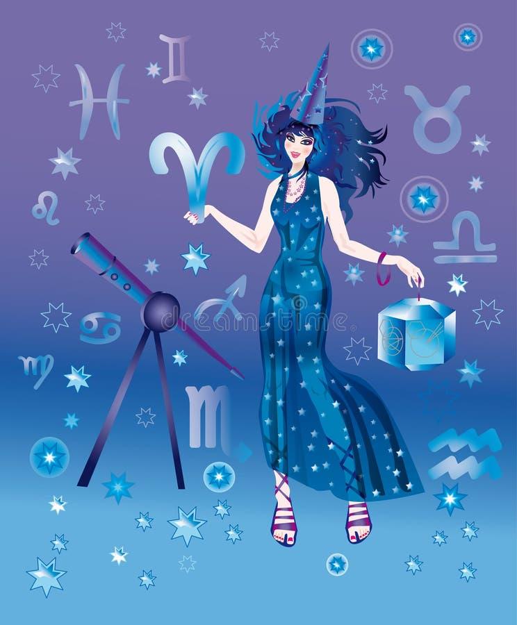 Astrólogo com sinal do zodíaco do caráter de Ariesi ilustração stock