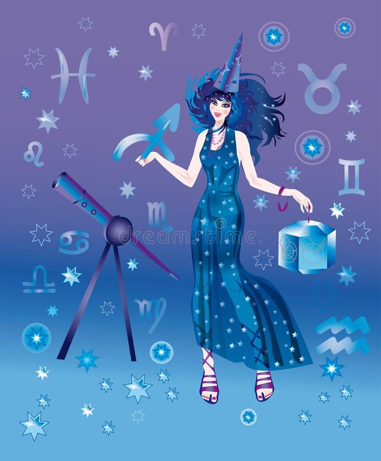 Astrólogo com sinal do zodíaco do Sagittarius ilustração do vetor