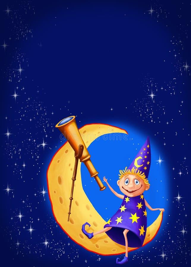 Astrólogo com um telescópio na lua ilustração stock